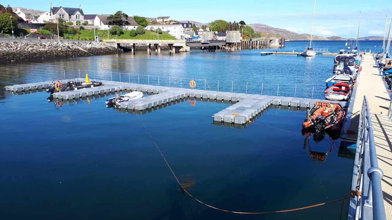 Airfloat Modular Pontoon System in use - Tarbet Isle of Harris
